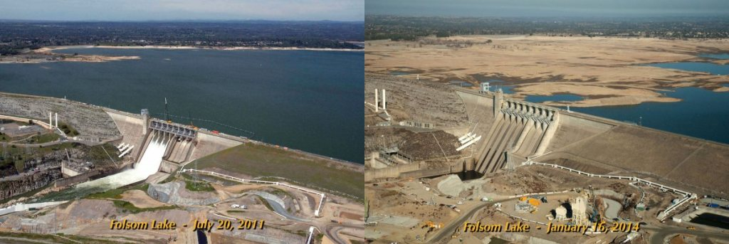 Hard evidence of drought: Folsom Lake, a VIP Northern California reservoir, sunk to 17 percent capacity in January. (CA Dept of Water Resources)